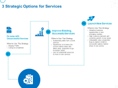 Service Strategy And Service Lifecycle Implementation 3 Strategic Options For Services Ppt Slides Graphics PDF