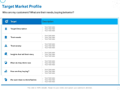 Service Strategy And Service Lifecycle Implementation Target Market Profile Ppt Infographics Influencers PDF