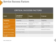 Service Success Factors Template 2 Ppt PowerPoint Presentation Layouts Outline