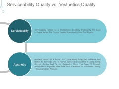 Serviceability Quality Vs Aesthetics Quality Ppt PowerPoint Presentation Slide