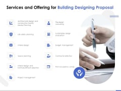 Services And Offering For Building Designing Proposal Ppt PowerPoint Presentation Ideas Grid