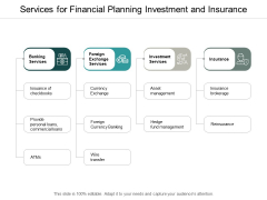 Services For Financial Planning Investment And Insurance Ppt PowerPoint Presentation Infographic Template Graphics Download