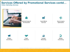 Services Offered By Promotional Services Contd Online Marketing Services Ppt Inspiration Graphics Design PDF