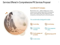 Services Offered In Comprehensive PR Services Proposal Social Selling Ppt PowerPoint Presentation Icon Graphics