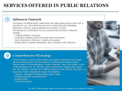 Services Offered In Public Relations Ppt PowerPoint Presentation Summary Graphic Images