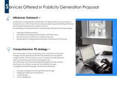 Services Offered In Publicity Generation Proposal Ppt PowerPoint Presentation Ideas Guidelines