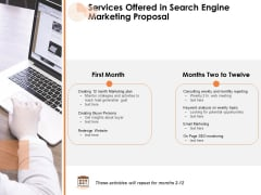 Services Offered In Search Engine Marketing Proposal Ppt PowerPoint Presentation Show Microsoft PDF