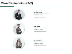 Services Proposal By Financial Representative Client Testimonials Teamwork Elements PDF