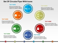 Set Of Circular Flyer With Icons PowerPoint Templates