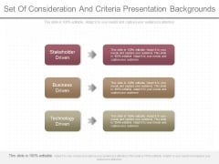 Set Of Consideration And Criteria Presentation Backgrounds