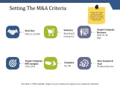 Setting The M And A Criteria Ppt PowerPoint Presentation Infographic Template Backgrounds