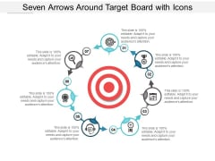 Seven Arrows Around Target Board With Icons Ppt Powerpoint Presentation Infographic Template Designs Download