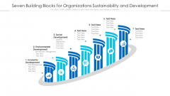Seven Building Blocks For Organizations Sustainability And Development Ppt PowerPoint Presentation Icon Model PDF