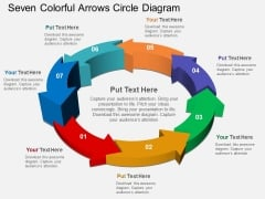 Seven Colorful Arrows Circle Diagram Powerpoint Templates