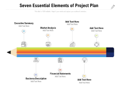 Seven Essential Elements Of Project Plan Ppt PowerPoint Presentation Ideas Background Image