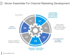 Seven Essentials For Channel Marketing Development Ppt Slide