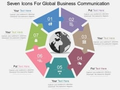 Seven Icons For Global Business Communication Powerpoint Templates