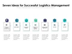 Seven Ideas For Successful Logistics Management Ppt PowerPoint Presentation Background Image PDF