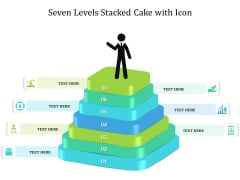 Seven Levels Stacked Cake With Icon Ppt PowerPoint Presentation Gallery Background Designs PDF