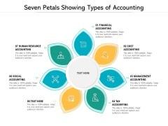 Seven Petals Showing Types Of Accounting Ppt PowerPoint Presentation Layouts Deck PDF