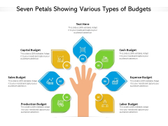 Seven Petals Showing Various Types Of Budgets Ppt PowerPoint Presentation Layouts Introduction PDF