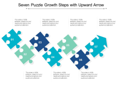 Seven Puzzle Growth Steps With Upward Arrow Ppt Powerpoint Presentation Ideas Sample