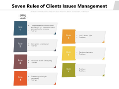 Seven Rules Of Clients Issues Management Ppt PowerPoint Presentation File Slides PDF