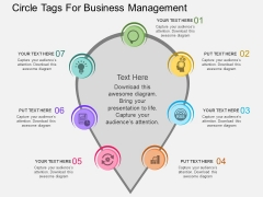 Seven Staged Circle Tags For Business Management Powerpoint Template