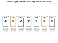 Seven Stages Business Planning Timeline With Icons Ppt Powerpoint Presentation Gallery Template