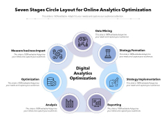 Seven Stages Circle Layout For Online Analytics Optimization Ppt PowerPoint Presentation Outline Background Designs PDF