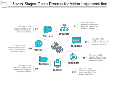 Seven Stages Gears Process For Action Implementation Ppt Powerpoint Presentation Gallery Inspiration