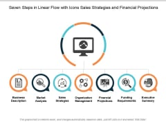 Seven Steps In Linear Flow With Icons Sales Strategies And Financial Projections Ppt Powerpoint Presentation Styles Graphics Example