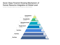 Seven Steps Pyramid Showing Mechanism Of Human Resource Integration At Global Level Ppt PowerPoint Presentation Layouts Brochure PDF