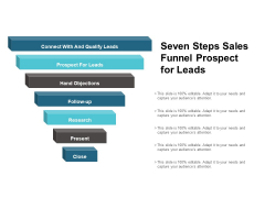Seven Steps Sales Funnel Prospect For Leads Ppt PowerPoint Presentation Inspiration Grid