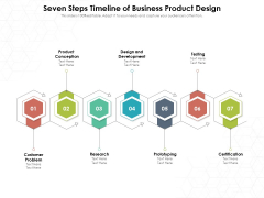 Seven Steps Timeline Of Business Product Design Ppt PowerPoint Presentation File Example Topics PDF