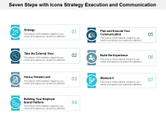 Seven Steps With Icons Strategy Execution And Communication Ppt Powerpoint Presentation Model Slides