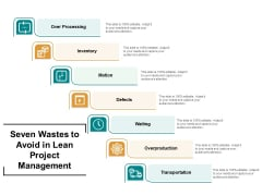 Seven Wastes To Avoid In Lean Project Management Ppt PowerPoint Presentation Summary Objects