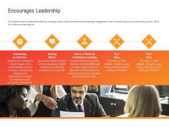 Shared Values In An Organization Encourages Leadership Ppt Infographics Samples PDF
