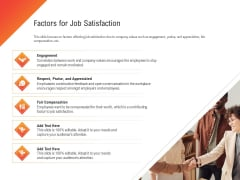 Shared Values In An Organization Factors For Job Satisfaction Ppt Professional Model PDF