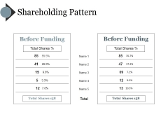 Shareholding Pattern Template Ppt PowerPoint Presentation Inspiration Demonstration