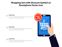 Shopping Cart With Discount Symbol On Smartphone Vector Icon Ppt PowerPoint Presentation Portfolio Ideas PDF
