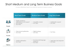 Short Medium And Long Term Business Goals Ppt PowerPoint Presentation File Show PDF