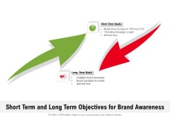 Short Term And Long Term Objectives For Brand Awareness Ppt PowerPoint Presentation File Brochure PDF