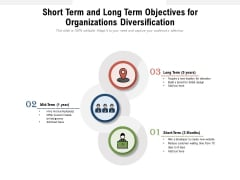 Short Term And Long Term Objectives For Organizations Diversification Ppt PowerPoint Presentation File Tips PDF
