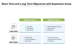 Short Term And Long Term Objectives With Expansion Areas Ppt PowerPoint Presentation File Clipart PDF