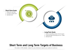 Short Term And Long Term Targets Of Business Ppt PowerPoint Presentation Icon Gallery PDF