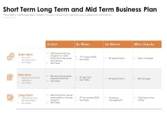 Short Term Long Term And Mid Term Business Plan Ppt PowerPoint Presentation File Introduction PDF