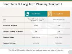 Short Term Long Term Planning Flexibility Goal Ppt PowerPoint Presentation Pictures File Formats