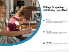 Siblings Completing Their School Home Work Ppt PowerPoint Presentation File Inspiration PDF