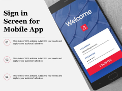 Sign In Screen For Mobile App Ppt PowerPoint Presentation Gallery Templates